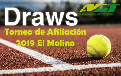 DRAWS Y ORDEN DE JUEGO TORNEO AFILIACIÓN 2019